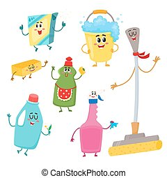 lustiges, satz, haus, wischmop, charaktere, putzen, reinigungsmittel, schwamm, wischeimer