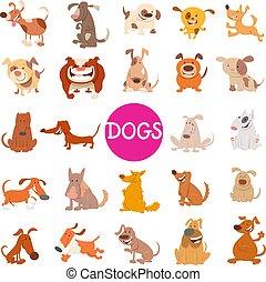 lustiges, satz, hund, groß, charaktere, karikatur