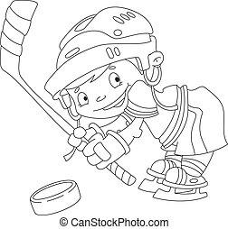 lustiges, umrissen, hockey, junge