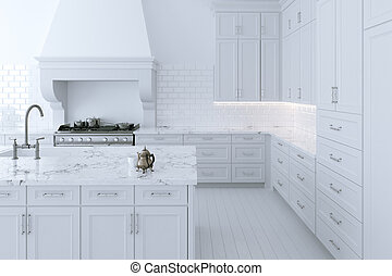 Luxuriöse weiße Küchenkabine mit Kochinsel. 3D Renderung