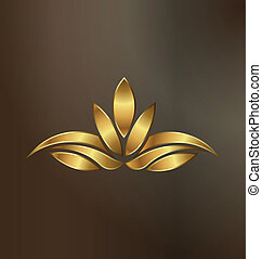 Luxuriöses Gold Lotus Pflanzen-Logo.