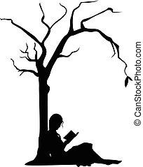 Mädchen lesen unter einem Baum.