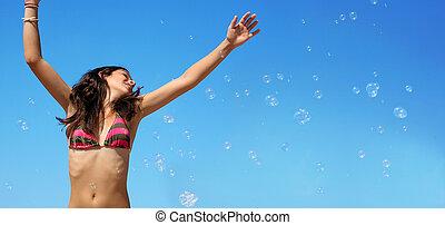 Mädchen mit Blasen.