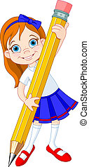 Mädchen mit Bleistift