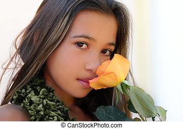 Mädchen mit einer Rose.