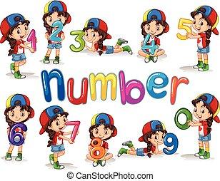 Glückliche kinder und nummern eins bis null. Glückliche