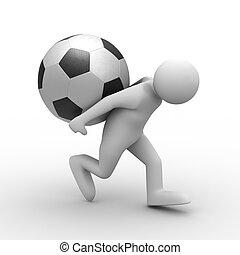 Männer tragen Ball hinten. 3D-Bild isoliert
