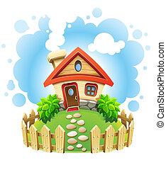 Märchenhaus auf Rasen mit Zaun
