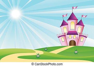 Märchenpalast auf einem grünen Rasen.