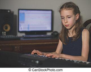 m�dchen, klavier, wenig, studio., daheim, lied, aufnahme, musik
