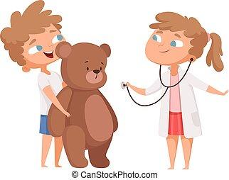 m�dchen, spiel, teddy, wenig, playing., doktor, reizend, spielen, vektor, abbildung, klinikum, kinder, bär, medizin, patient., kinder