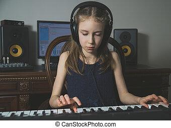 m�dchen, wenig, studio., daheim, lied, aufnahme, musik