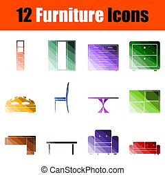 möbel, satz, ikone