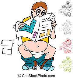 Müdeer Mann liest Zeitung über Toiletten