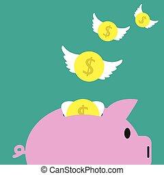 Münzen, die vom Sparschwein wegfliegen