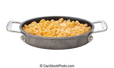 Macaroni und Cheese in einer Oval Pfanne.