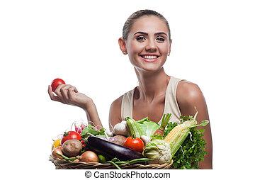 machen diät, frau, gesunde, vegetarier, -, junger, lebensmittel, begriff, besitz, vegetable., korb, glücklich