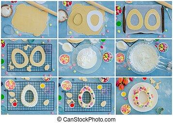 machen, geformt, ei, zuckerl, concept., kuchen, eier, creme, sprinkles., meringen, ostern, treten, blaubeeren, rezept, recipe., collage.