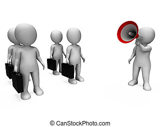 Manager mit Megaphone zeigt Management- oder Vertriebsmeeting.