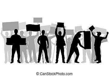 Manifestation - eine Gruppe von Menschen, die protestieren.