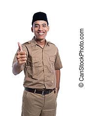 mann, brauner, khaki, daumen, ausstellung, auf, uniform