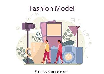mann, concept., modell, frau, darstellen, neu , kleidung, mode