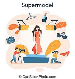 mann- frau, concept., darstellen, modell, mode, neu , kleidung