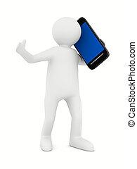 Mann mit Telefon auf weiß. 3D-Bild isoliert