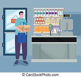 mann, supermarkt