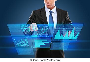 mann, technologie, interaktiv