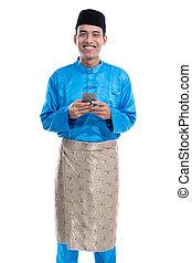 mann, telefon, tragen, beweglich, koko, melayu, moslem, asiatisch