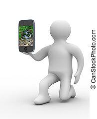 Mann und Telefon. 3D-Bild isoliert