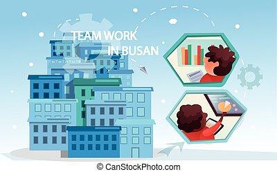 mannschaft, ausstellung, busan, arbeit, leute, begriff, banner, gelenk, erfolgreich, teamwork., geschaeftswelt, firma