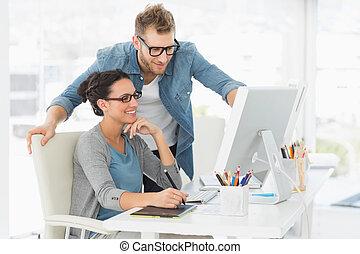 mannschaft, buero, arbeitende , design, junger