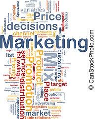marketing, begriff, hintergrund, mischling
