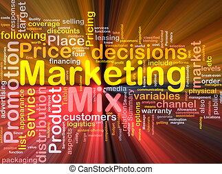 marketing, glühen, begriff, hintergrund, mischling
