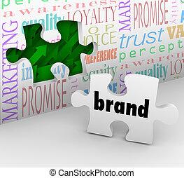 marketing, marke, puzzel, strategie, antwort, stück, vollendet