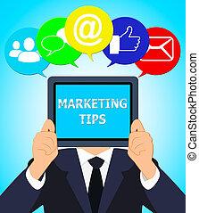 Marketing-Tipps mit emarketing Beratung 3d Illustration.