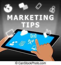 Marketingtipps zeigen emarketing Ratschläge 3d Illustration.
