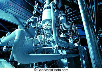 maschinerie, schläuche, dampf, macht, turbine, leitungsrohre, pflanze