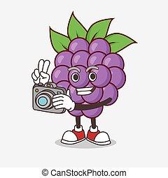 maskottchen, boysenberries, fotograf, aktiv, fruechte, fotoapperat, zeichen, karikatur