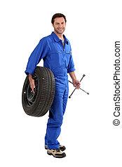 mechaniker, besitz, ermüden