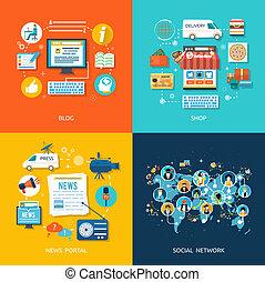 medien, anschluss, begriff, vernetzung, sozial