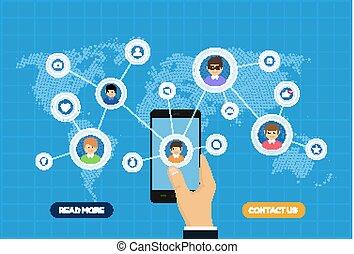 medien, anschluss, landkarte, leute, abbildung, sozial, concept., vernetzung, smartphone