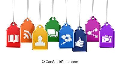 medien, concept., etiketten, icons., sozial