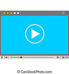 medien, film, interface., spieler, video