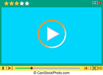 medien, film, vektor, interface., spieler, video, illustrationen