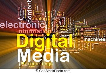 medien, glühen, begriff, hintergrund, digital
