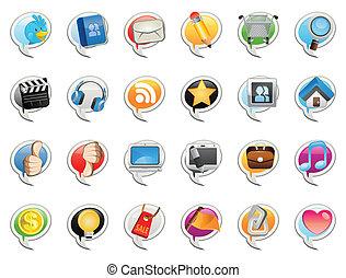 medien, sozial, blase, ikone