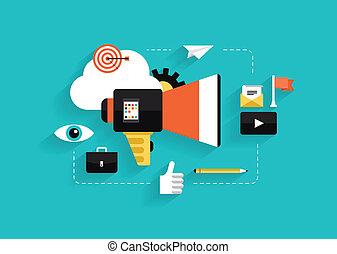 medien, sozial, marketing, abbildung, wohnung